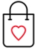 Shopping bag and heart icon