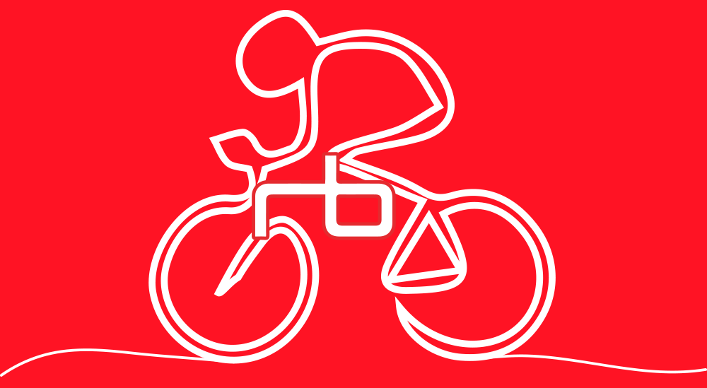 Cyclist illustration featuring the Redbrain logo