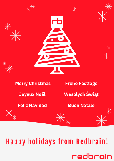Holiday poster from Redbrain wishing a Merry Christmas in six languages